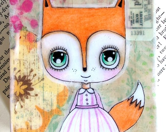 Fox Painting Original Mixed Media Cute Fox Girl