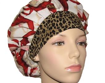 Bouffant Scrub Hat-ScrubHeads-Scrub Hat-Scrub Cap-Surgical Caps-Surgical Hats-Bouffant Cap-Holiday Scrub Hats-Santa With Leopard Trim