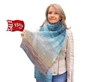 Handmade scarf Multicolored Ladies scarf Blue knit scarf Beige cozy scarf Mohair knitted scarves Women's scarf Gift necklace