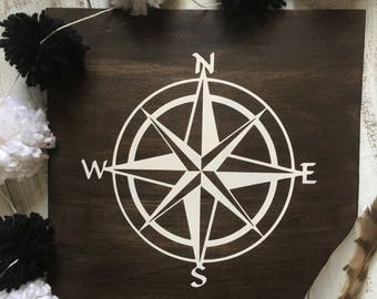 Handpainted Compass Wall Hanging