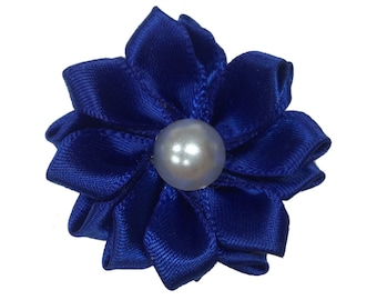 1.5 inch Satin Pearl Flower, Wholesale Crafting Flowers for Baby Girl Head Bands, Lot of 1, 2, 5 or 10, Royal Blue
