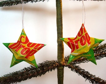 Recycled Sun Drop Citrus Soda Can Aluminum Stars - Set of 2 Christmas Ornaments