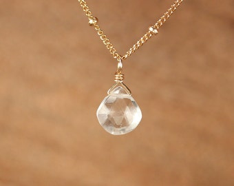 Quartz necklace  - solitaire necklace - crystal necklace - wedding necklace - tiny necklace - 14k gold filled satellite chain
