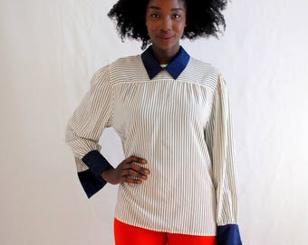 SALE!!!!!!!!!! Cream with navy pinstripe and solid collar 1980s 80s VINTAGE