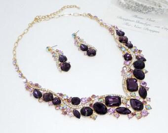 Deep Purple Gold Chunky Rhinestone Statement Bridal Bib Necklace and Earrings Set