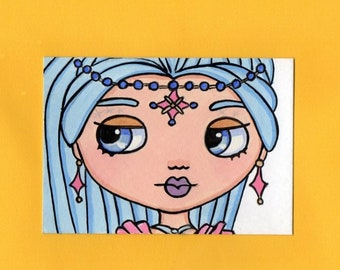 ACEO Original Miniature Painting Blythe doll face Ice Genie Layla from shimmer & shine Art Artist Trading Card