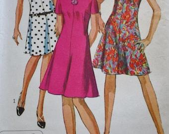 Simplicity 7161,  60s Collarless Dress Pattern, Jiffy Dress,  Bust 36