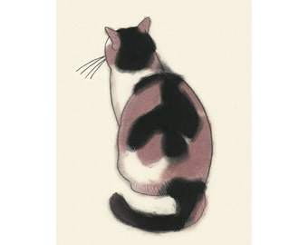 "Cat art tortoiseshell cat   Contemplation - 4"" X 6"" - 4 for 3 SALE"