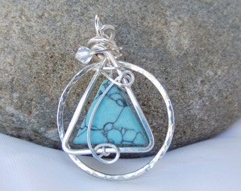 12-Step Recovery Jewelry, Sobriety Necklace, 12 Step Sobriety Gift, Sterling Silver Turquoise, Wire Wrap, Sponsor Gift