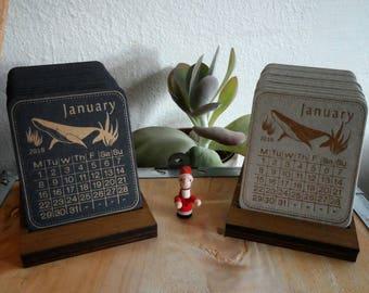 Handmade letterpress desk calendar 2018