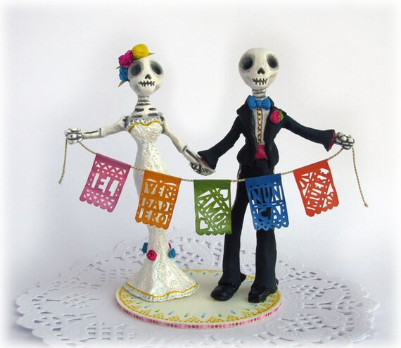Day of the Dead Wedding Cake Toppers Frida Kahlo Rustic