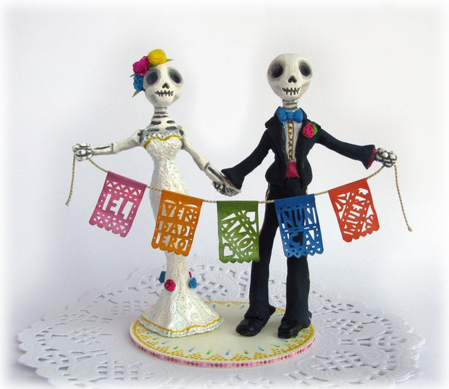 Day of the Dead Wedding Cake Toppers Frida Rustic Mexican