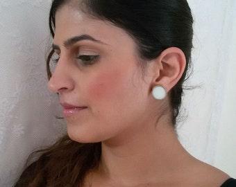 White stud earrings. stud earrings.  round stud earrings. white earrings. everyday earrings. simple earrings. geometric earrings. post