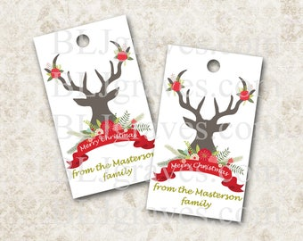 Personalized Christmas Tags, Christmas Deer Antlers, Gift Tags Party Favor Treat Bag Tag Handmade TC016
