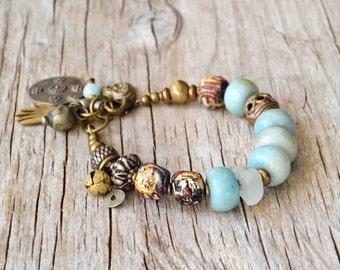 Bohemian Amazonite bracelet, boho jewelry, beaded yoga bracelet, gemstone bracelet, gift for her, Valentine's gift , ethnic bracelet, OOAK
