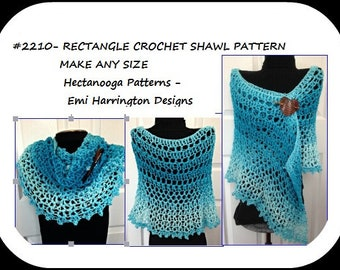 Crochet Ombre Rectangle Shawl, Women's wrap, Summer accessories, Small to XL, easy pattern, Crochet for teens, Prom shawl, # 2210
