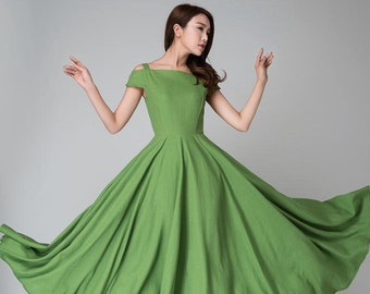off shoulder dress, Green dress, full length dress,  linen dress,  maxi dress ,party dress, women dresses, linen clothing, mod clothing 1531
