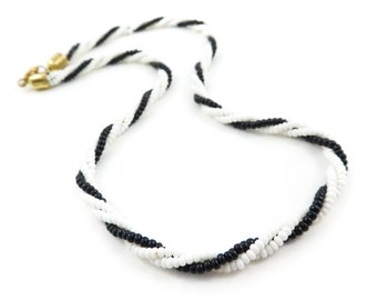 Vintage, Black White, Necklace, Seed Bead, Glass, STU20