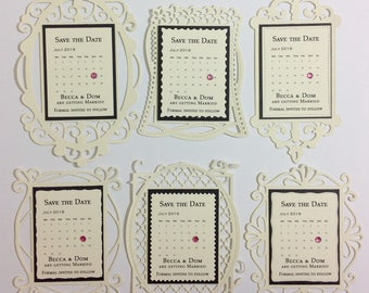Die cut personalised Save the Date cards with envelope and magnet
