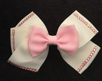 Beautiful White And Pink Double Bow Hair Bow
