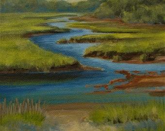 "Beach Marsh Ocean Sea Coastal Original signed Acrylic Painting square 6""x 6""x 1.5"""