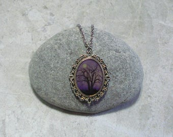 Purple Moonlight Night Full Moon Necklace Tree Pendant Jewelry