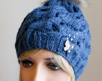 Knitted Wool Hat with Brooch and Swarovski Crystals