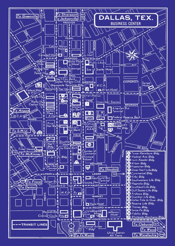 1949 vintage map of downtown dallas blueprint map print like this item malvernweather Image collections
