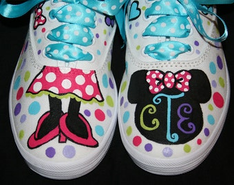 NEW Design MINNIE MOUSE Inspired Custom Painted Shoes Any Size
