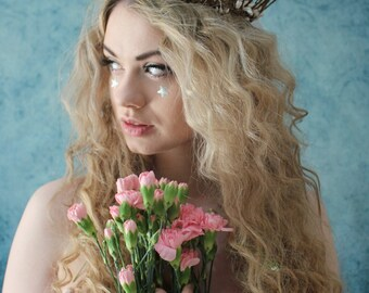 White rustic love hair wreath, woodland wreath, wedding hairband