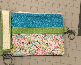 Zippered Pouch with Matching Key Fob