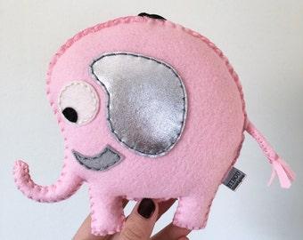 elephant plush toy - elephant pillow - animal nursery decor- baby pink and silver elephant plushie - OOAK HibouDesigns