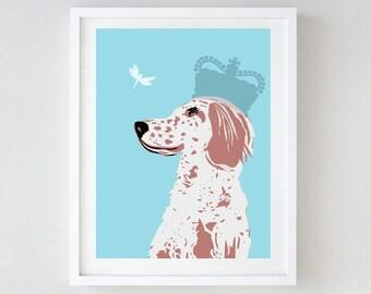 English Setter Dog Art - Wall art, english setter print, Dog breed, setters