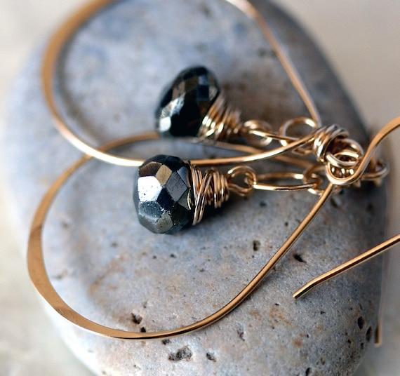 Small Gold Hoop Earrings - Pyrite Earrings - Pyrite Jewery - Hammered Gold Earrings