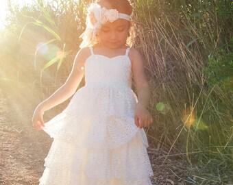 White Flower Girl Dress, Boho Dress, First Communion Dress, White Lace Dress, Rustic Flower Girl, Ruffle Dress, Couture Dress, Savannah