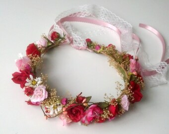 Lace Bridal dried Flower Crown Destination Wedding Watermelon Pink Red hair wreath Romantic halo accessories photo prop circlet