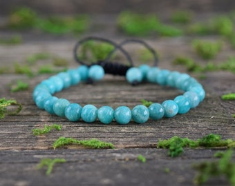 Amazonite Bracelet, Adjustable Bracelet, Gemstone Jewerly, Amazonite Stone, Healing Crystal, Bohemian Bracelet, Beaded Bracelet, Macrame