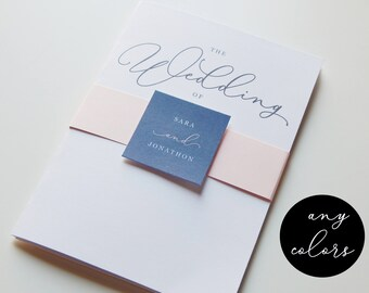 Wedding Invitation Template - CHOOSE COLORS, Simple Modern Calligraphy Printable Set, PDF Instant Download Digital File Suite, Navy & Blush