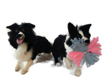 Custom - TWO Needle felted Dogs - example Needle Felted Border collie sculpture  - Border collie art