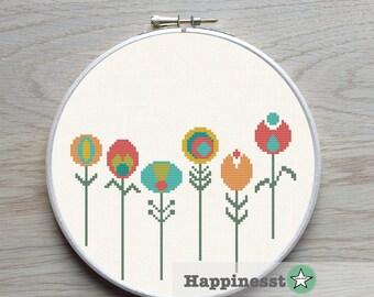 cross stitch pattern flowers, little retro flowers, PDF pattern ** instant download**