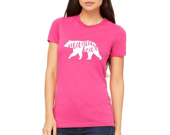 Berry Mama bear Color Womens Fitted T-Shirt Available in all sizes and colors