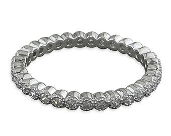 Cubic Zirconia Millgrain Full Eternity Sterling Silver Ring