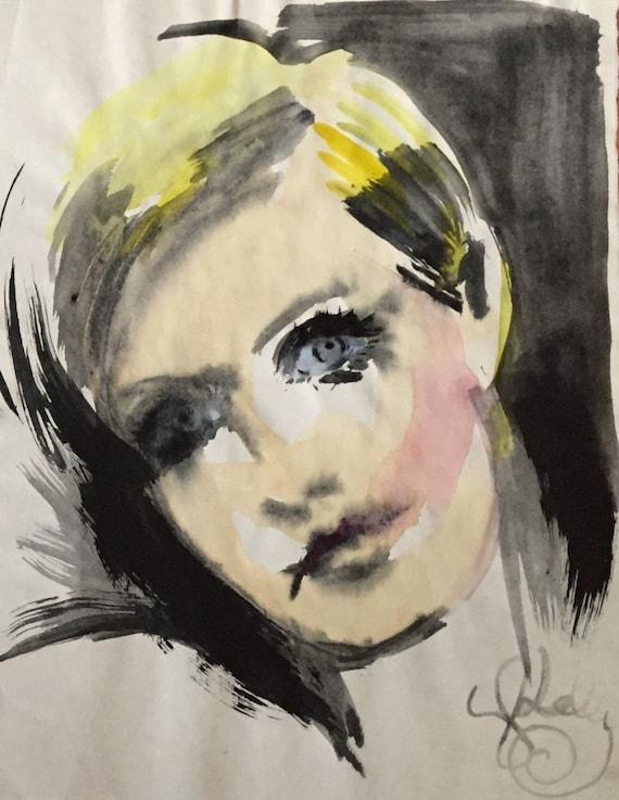 Twiggy Portrait Study - original watercolor painting by Gretchen Kelly