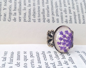 Violet ring - real flower ring - violet flower - Pressed flower ring in adjustable filigree bronze setting with beige leather - cute ring