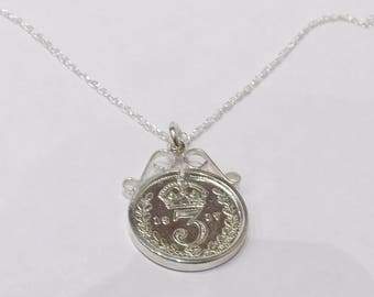 1922 96th Birthday / Anniversary 3D Threepence coin pendant plus 18inch SS chain 95th birthday, 95th birthday gift, 95th gift, 1922