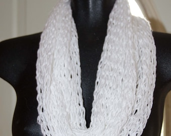Knit Infinity Scarf * White  Loop Scarf *  Loop Scarf ~ Knit Cowl * OOAK Gift for Her * Teen Scarf * Soy Light and Soft
