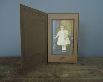 Antique Child Baby Photo from 1918, Vintage Photo in cardboard Frame