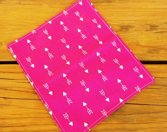 Reusable Cotton Napkins, Set of 5, Pink Arrow Napkins, Lunch Box Napkins, Cotton Napkins, Fabric Napkins, Cloth Napkins, Pink by Sew4MyLoves