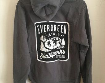 Gray zip up hoodie with Alien logo