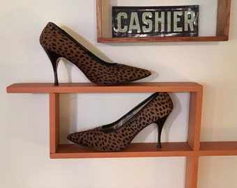 Paradise Bootery Heels Pony Fur Leopard Cheetah Print 7 1/2B Stilettos Hand Made Shoes Animal Print 1950's
